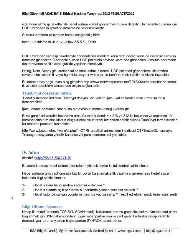 Bilgi Güvenliği AKADEMİSİ Ethical Hacking Yarışması 2012 #BGGACTF2012 üzerinden sahte ip paketleri ile hedef sistme komut ...