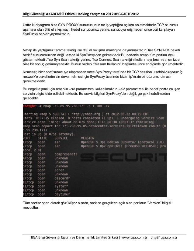 Bilgi Güvenliği AKADEMİSİ Ethical Hacking Yarışması 2012 #BGGACTF2012 Üstte ki diyagram bize SYN PROXY sunucusunun ne iş y...