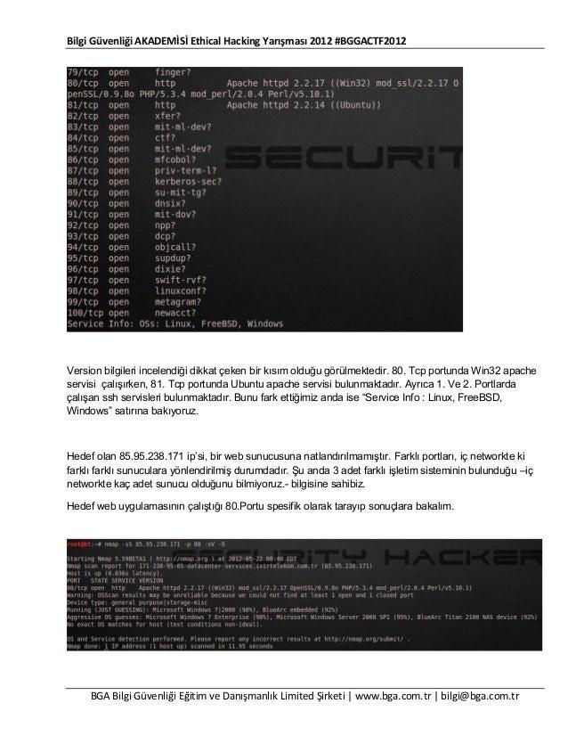 Bilgi Güvenliği AKADEMİSİ Ethical Hacking Yarışması 2012 #BGGACTF2012  Version bilgileri incelendiği dikkat çeken bir kısı...