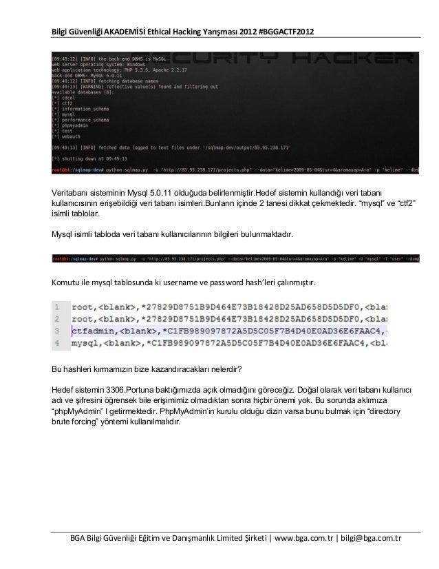 Bilgi Güvenliği AKADEMİSİ Ethical Hacking Yarışması 2012 #BGGACTF2012  Veritabanı sisteminin Mysql 5.0.11 olduğuda belirle...