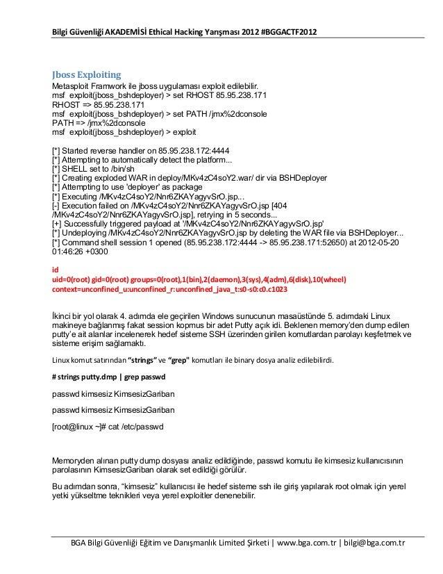 Bilgi Güvenliği AKADEMİSİ Ethical Hacking Yarışması 2012 #BGGACTF2012  Jboss Exploiting Metasploit Framwork ile jboss uygu...