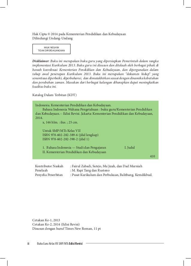 Kurikulum 2013 Buku Guru 7 Bahasa Indonesia