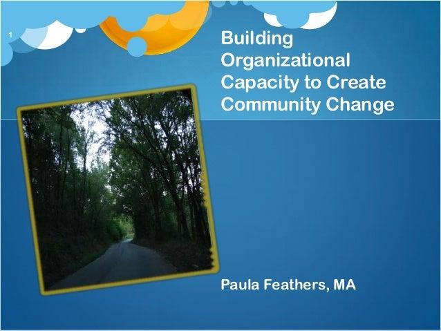 1    Building    Organizational    Capacity to Create    Community Change    Paula Feathers, MA