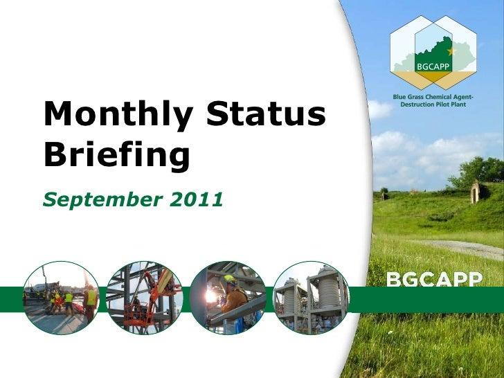 Monthly StatusBriefingSeptember 2011                 1