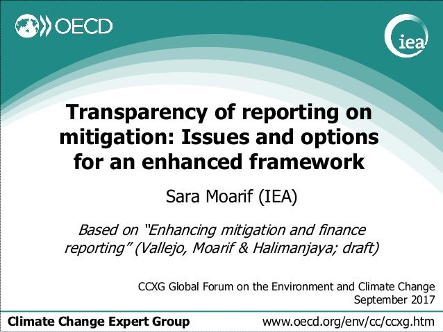 Climate Change Expert Group www.oecd.org/env/cc/ccxg.htm Transparency of reporting on mitigation: Issues and options for a...
