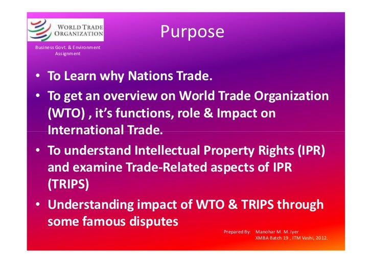 assignment on wto