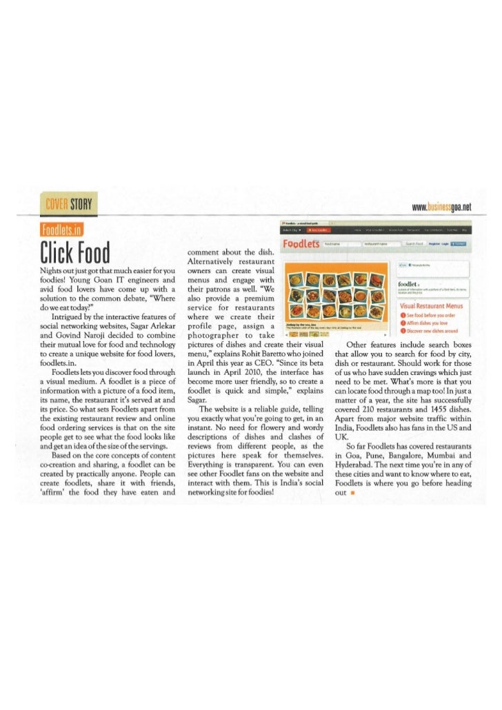 Foodlets in Business Goa Magazine