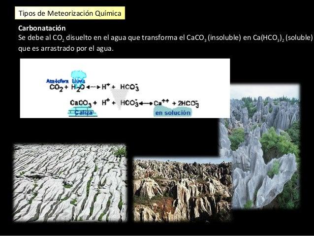 Tipos de Meteorización Química Hidratación. La hidratación afecta a las rocas por minerales cuyos compuestos reaccionan co...