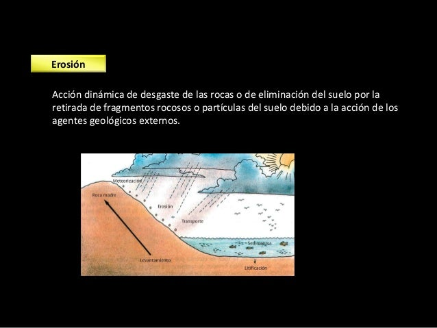 Transporte Los materiales erosionados son transportados por los agentes geológicos en función de su tamaño y de la graveda...