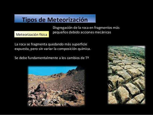 Tipos de meteorización física Gelifracción o gelivación: 1.Efecto cuña del hielo en zonas templadas o frías. 2.Produce can...