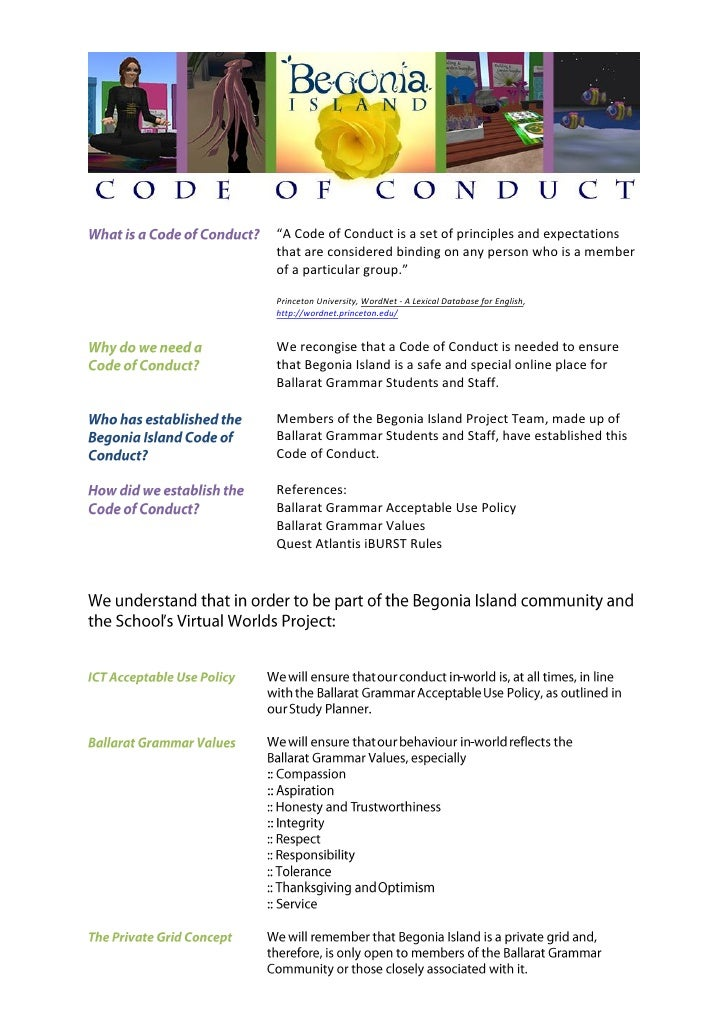 """""""A Code of Conduct is a set of principles and expectations that are considered binding on any person who is a member of a ..."""