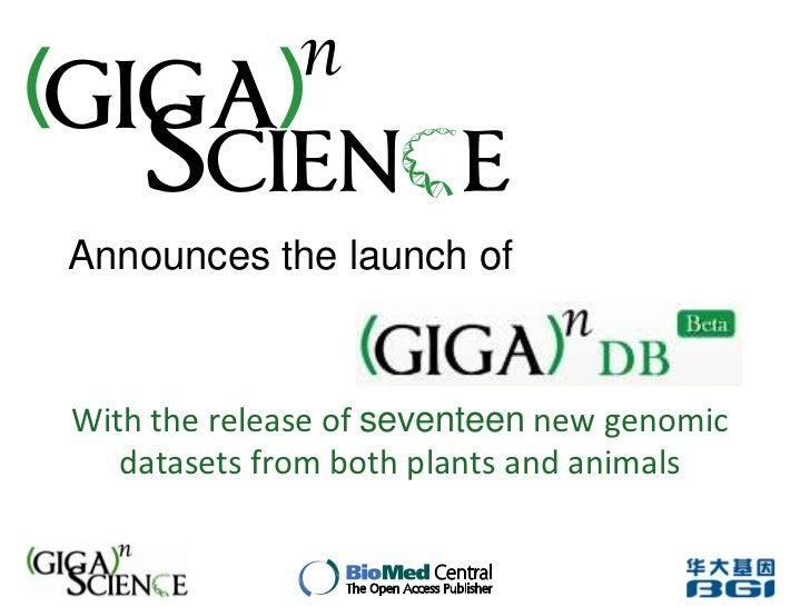Announces the launch ofWith the release of seventeen new genomic   datasets from both plants and animals