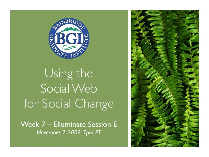 Using the     Social Web for Social Change Week 7 – Elluminate Session E     November 2, 2009: 7pm PT
