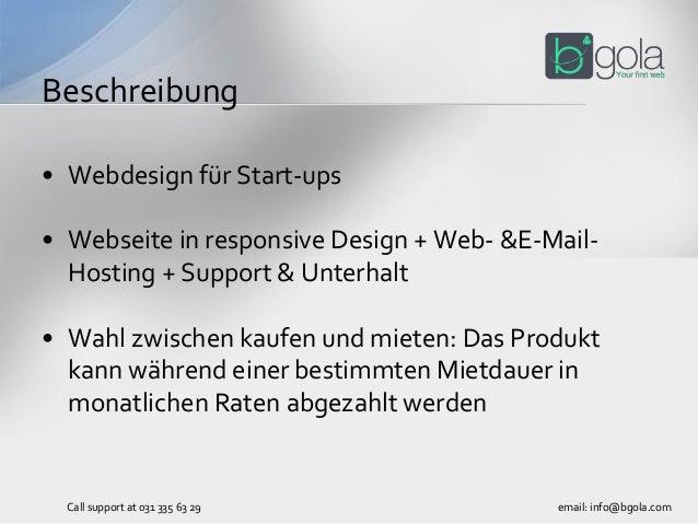 • Webdesign für Start-ups • Webseite in responsive Design + Web- &E-Mail- Hosting + Support & Unterhalt • Wahl zwischen ka...