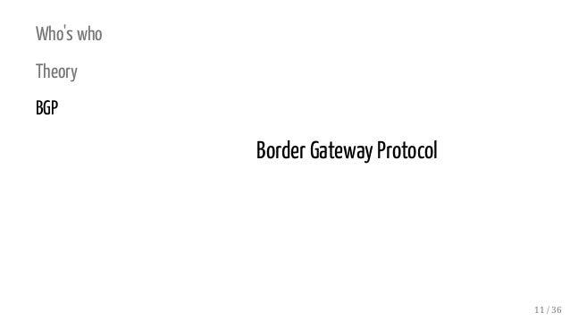 Who's who Theory BGP Border Gateway Protocol 11 / 36