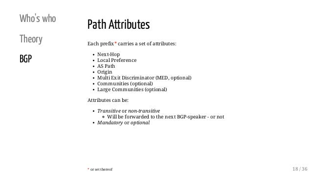 Who's who Theory BGP Path Attributes Each prefix* carries a set of attributes: Next-Hop Local Preference AS Path Origin Mu...