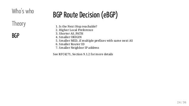 Who's who Theory BGP BGP Route Decision (eBGP) 1. Is the Next Hop reachable? 2. Higher Local Preference 3. Shorter AS_PATH...