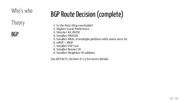 Who's who Theory BGP BGP Route Decision (complete) 1. Is the Next Hop reachable? 2. Higher Local Preference 3. Shorter AS_...