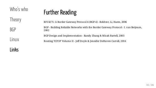Who's who Theory BGP Linux Links Further Reading RFC4271: A Border Gateway Protocol 4 (BGP-4) - Rekhter, Li, Hares, 2006 B...