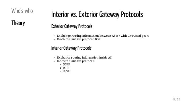 Who's who Theory Interior vs. Exterior Gateway Protocols Exterior Gateway Protocols Exchange routing information between A...