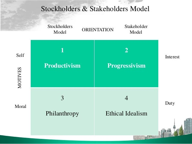 stakeholders model bgs 27 four models of the bgs relationship: the stakeholder model stakeholder:  an entity that is benefitted or burdened by the actions of a corporation or whose.
