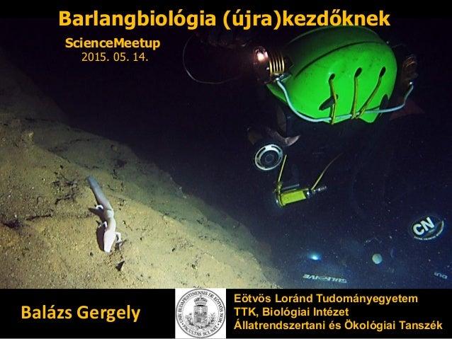 Barlangbiológia (újra)kezdőknek Eötvös Loránd Tudományegyetem TTK, Biológiai Intézet Állatrendszertani és Ökológiai Tanszé...