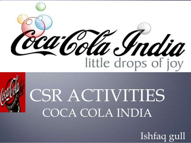 CSR ACTIVITIES COCA COLA INDIA Ishfaq gull