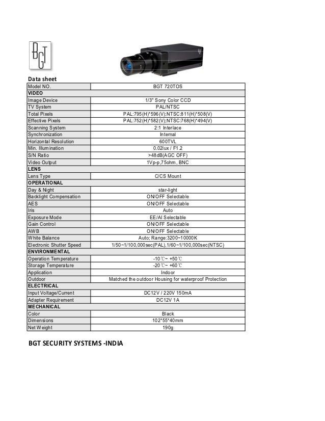 """Data sheetModel NO.                                     BGT 720TOSVIDEOImage Device                             1/3"""" Sony ..."""