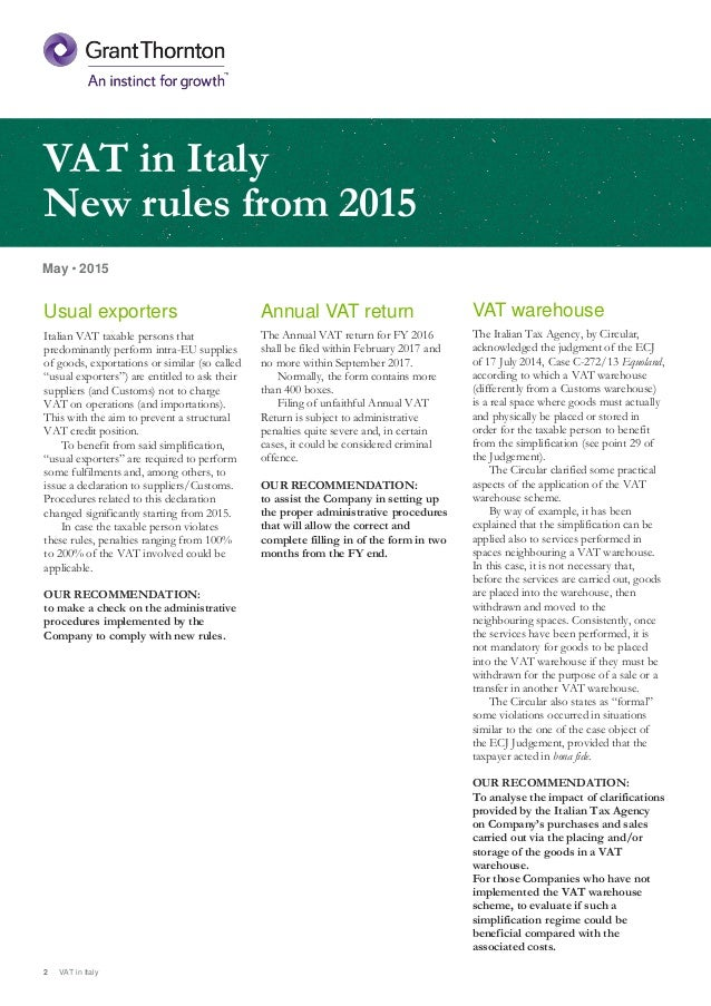2 May 2015 VAT In Italy Annual Return The