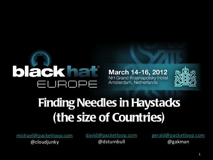 Finding Needles in Haystacks           (the size of Countries)michael@packetloop.com   david@packetloop.com   gerald@packe...