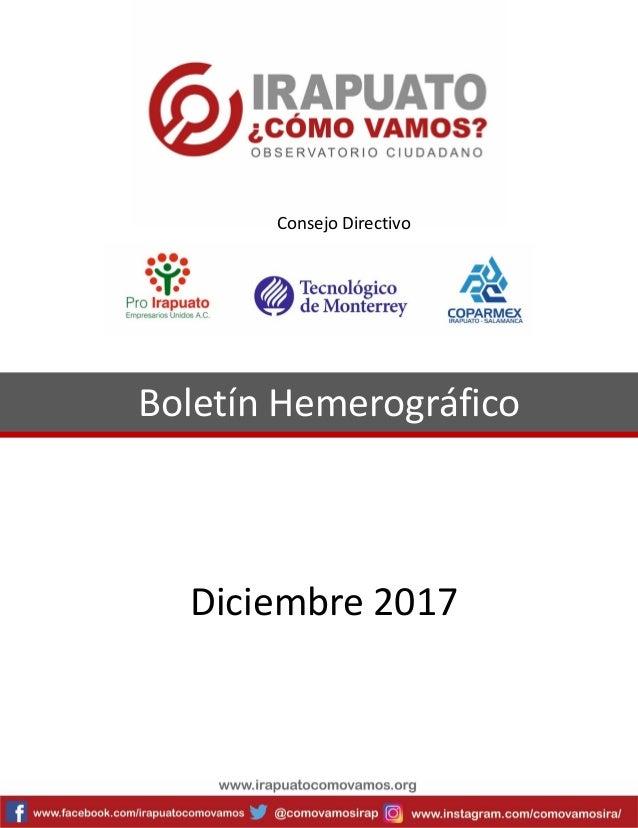 Boletín Hemerográfico Diciembre 2017 Consejo Directivo