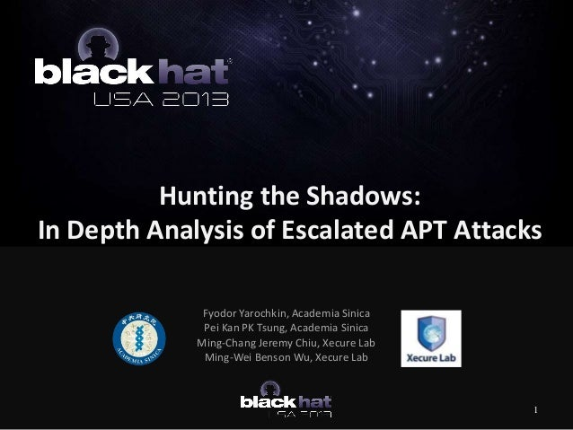Hunting the Shadows: In Depth Analysis of Escalated APT Attacks Fyodor Yarochkin, Academia Sinica Pei Kan PK Tsung, Academ...