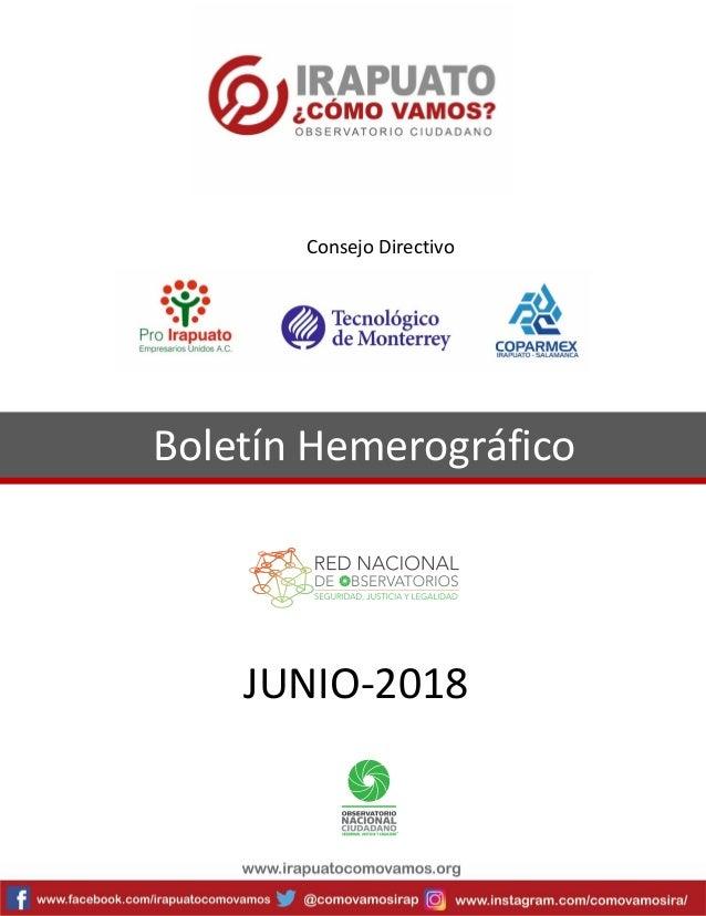 Boletín Hemerográfico JUNIO-2018 Consejo Directivo