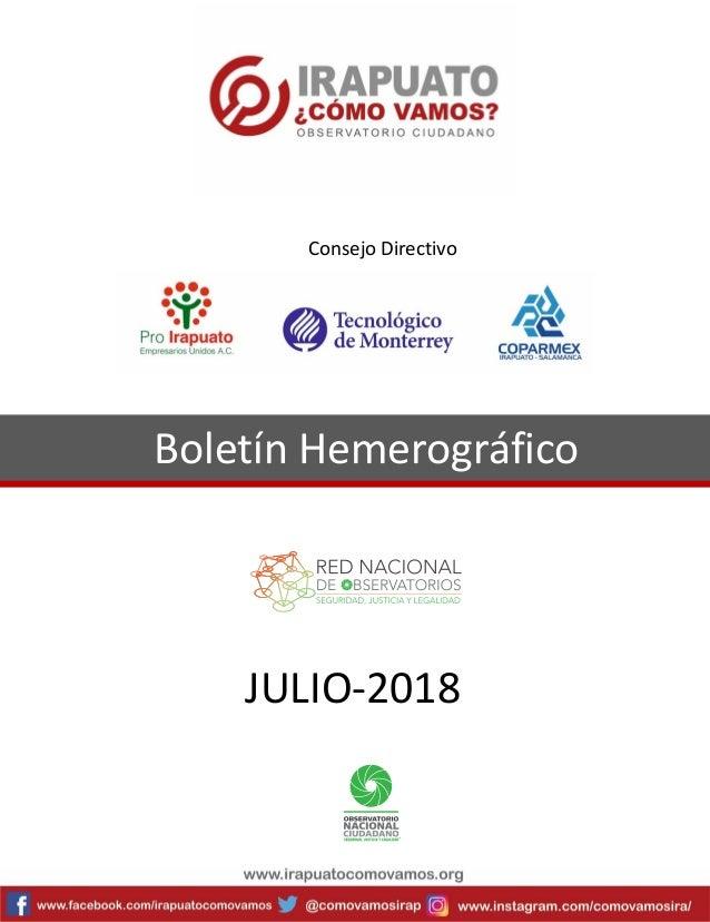 Boletín Hemerográfico JULIO-2018 Consejo Directivo
