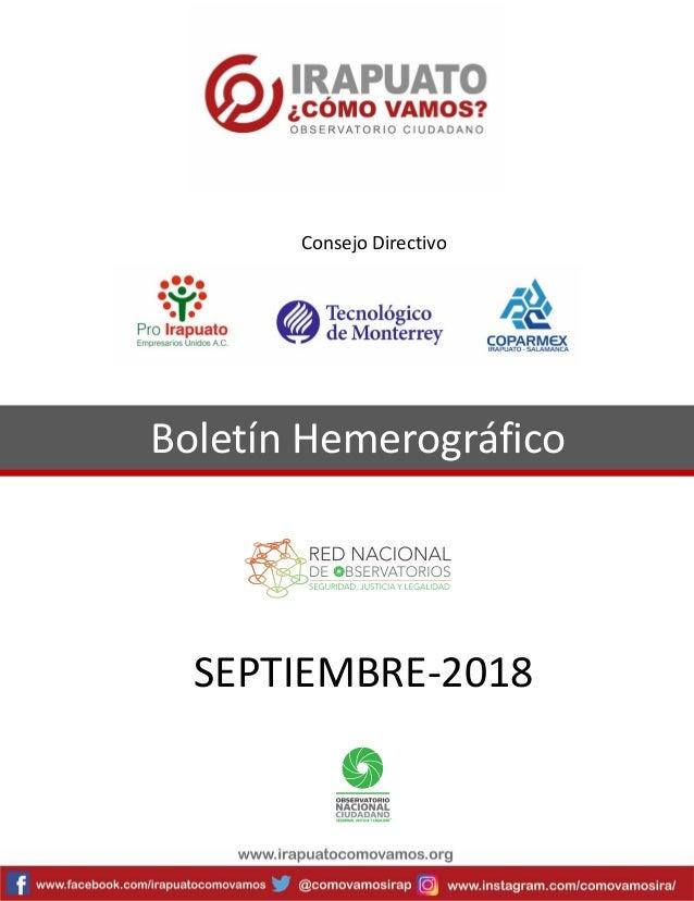 Boletín Hemerográfico SEPTIEMBRE-2018 Consejo Directivo