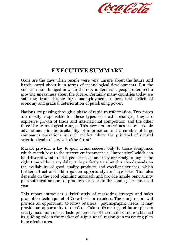 coca cola summary Coca cola company executive summary: the coca cola company executive summary: the coca cola company introduction coca cola company is one of the world's largest nonalcoholic beverages manufacturing company.