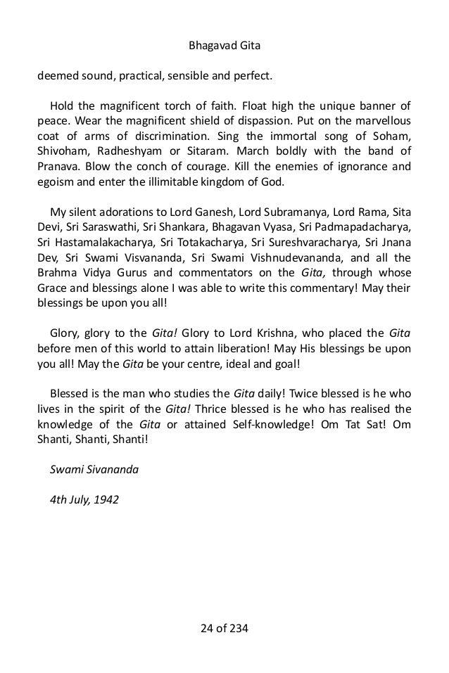 Bhagavad gita by sri swami sivananda 24 fandeluxe Image collections