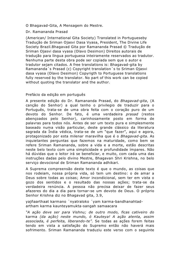 O Bhagavad-Gita, A Mensagem do Mestre.Dr. Ramananda Prasad(American/ International Gita Society) Translated in Portugueseb...