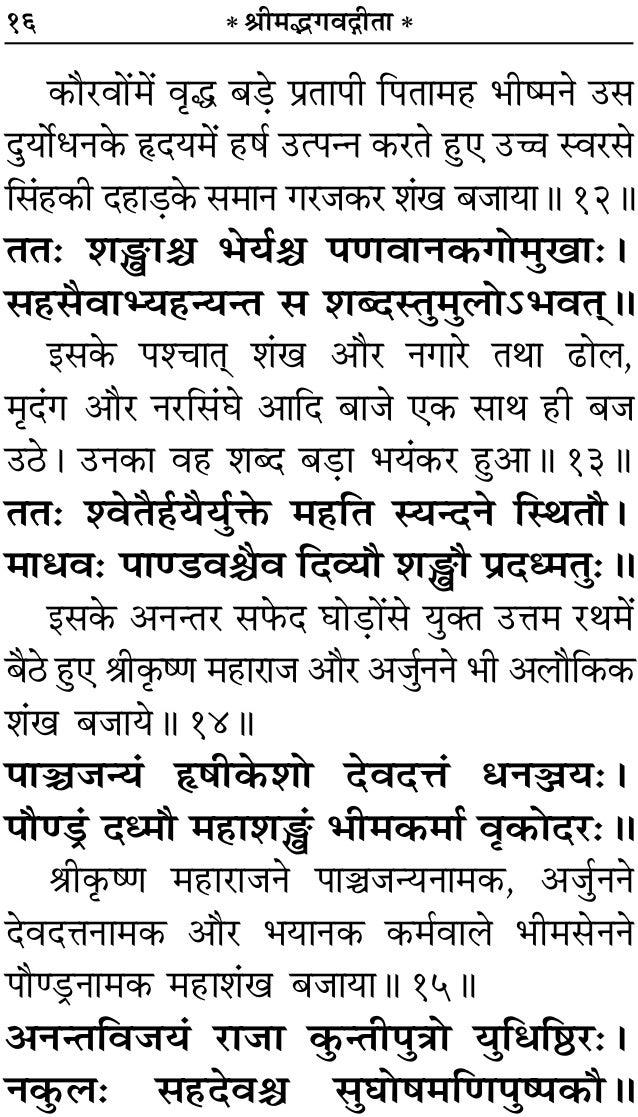 Bhagavad gita sanskrit with hindi translation