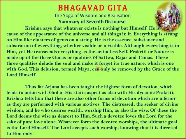 a summary of bhagavad gita 1 bhagavadgita'summary' ' chapter'2'4'knowledgeyoga' ' (a)''the'four'stages'of'enlightenment'verses1'10.