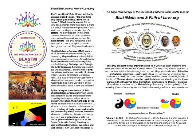 BhaktiMath.com & Path-of-Love.org                                               The Yoga-Psychology of the Sri Bhaktisiddh...