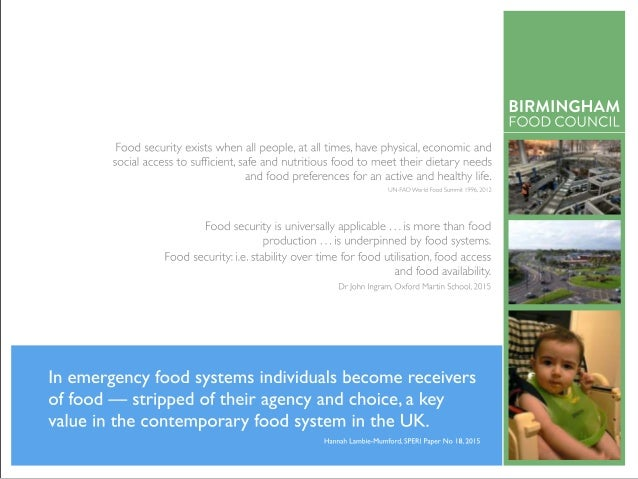 food insecurity — acity-level response? AGENDA Kate's intro drivers of food poverty now & in the future what might the fut...
