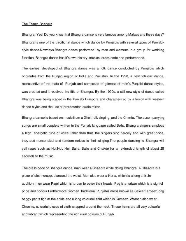 bhangra essay real the essay bhangra bhangra yes do you know that bhangra dance is very