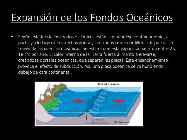 Expansión de los Fondos Oceánicos • Según esta teoría los fondos oceánicos están separándose continuamente, a partir y a l...