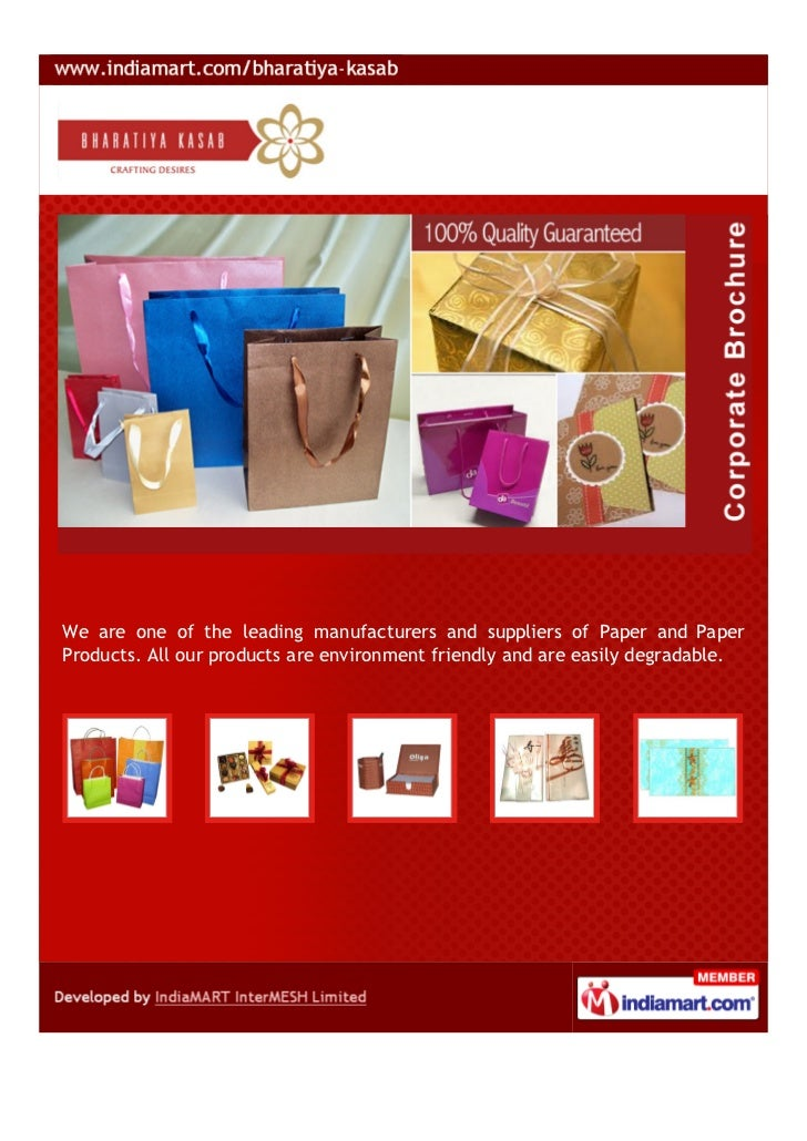 We are one of the leading manufacturers and suppliers of Paper and PaperProducts. All our products are environment friendl...