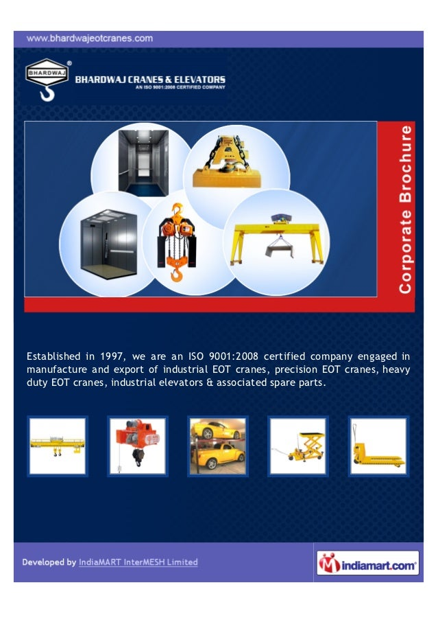 Established in 1997, we are an ISO 9001:2008 certified company engaged inmanufacture and export of industrial EOT cranes, ...