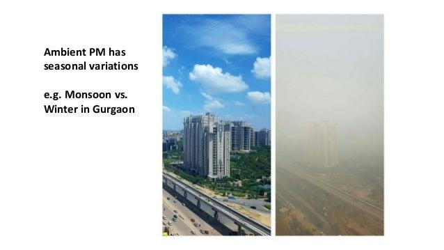 Ambient PM has seasonal variations e.g. Monsoon vs. Winter in Gurgaon