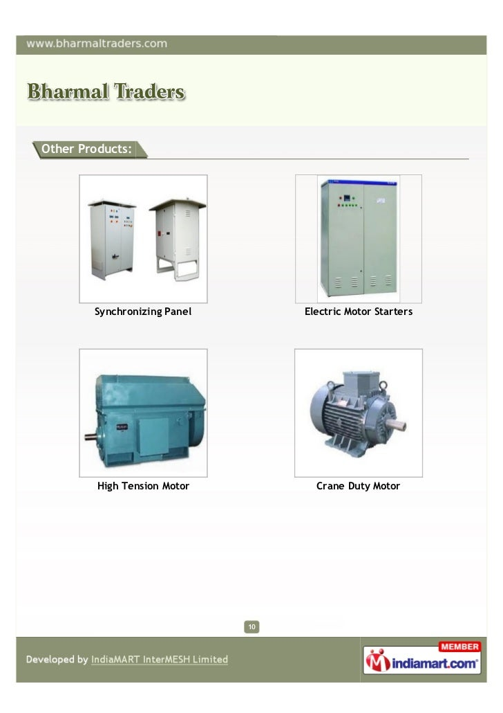 Other Products:        Synchronizing Panel        Electric Motor Starters         High Tension Motor          Crane Duty M...