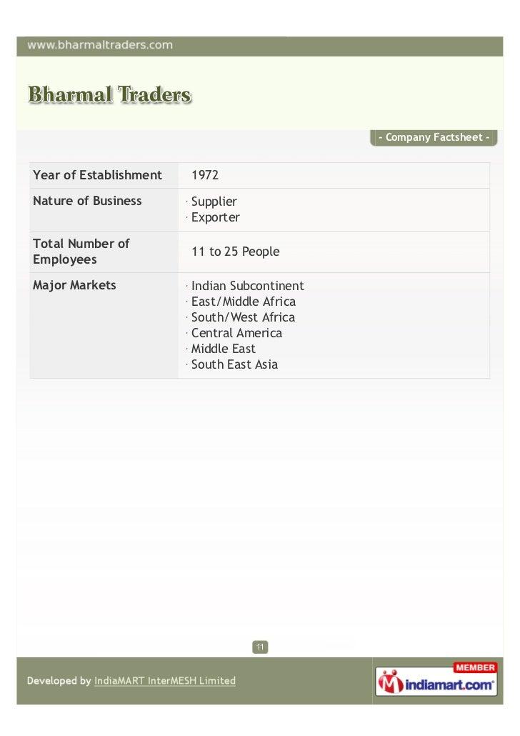 - Company Factsheet -Year of Establishment   1972Nature of Business      Supplier                        ExporterTotal Num...
