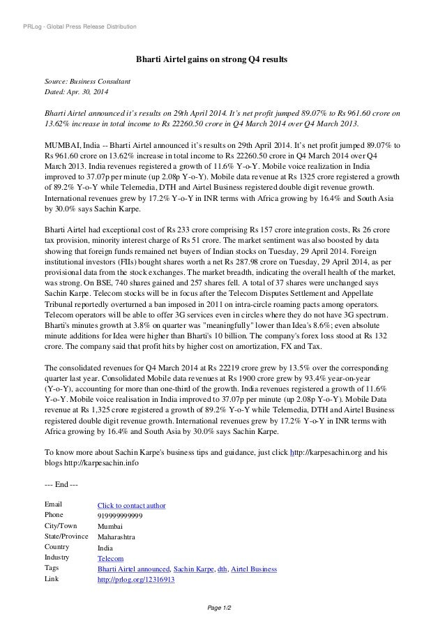 PRLog - Global Press Release Distribution Bharti Airtel gains on strong Q4 results Source: Business Consultant Dated: Apr....
